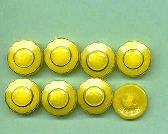 Vintage Yellow Glass Buttons With Gold Luster - Set Of Eight
