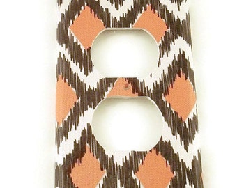 Outlet Plate Wall Decor  Switchplate Light Switch Plate in Ikat Coral and Gray (116O)
