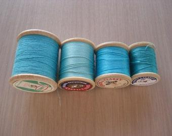 Lot of 4 Wood Spools of Vintage Thread - Shades of Aqua - #11