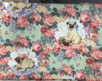 Lee Jofa Pugs & Petals green linen fabric by the yard - Free international shipping - RARE DISCONTINUED