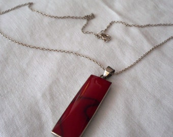VINTAGE Thailand Silver & Red Stone Rectangle Costume Jewelry Pendant Necklace