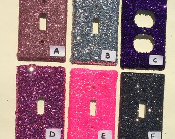 Pink Silver Purple Neon Grey Glitter Switchplate Outlet Double Triple Quad Rocker Blank Cable Dimmer