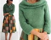 Vintage 1970's Fuzzy Green and Yellow Wool Knit Patchwork Sweater Dress with an Oversized Rolled Turtleneck Collar  | Medium