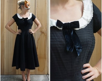 Classic Vintage 50's Black Dress with White Peter Pan Collar and Full Swing Skirt by Jerry Gilden Spectator| Medium Large