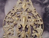 Gold Plated White Frosted Patina Brass Filigree Stamping 813WHT x1