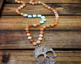 Sugar Skull, Western Cowgirl Southwestern Boho Sugar Skull Gemstone Necklace- Skull Necklace- Turquoise Skull Necklace- Agate Necklace