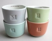 M is for morning, B is for breathe, C is for calm, E is for enjoy, set of four wee tea cups
