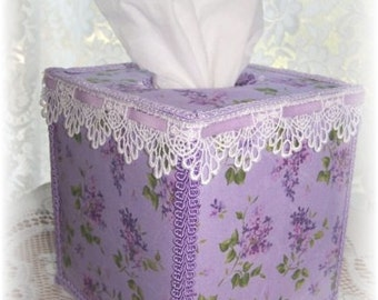 New Purple Lilacs Fabric TISSUE COVER for Square Tissue Box Crochet Lace and LavenderRibbon