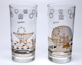 Vintage Expo 67 Glasses Worlds Fair Montreal - Canada 1967 - United States and Canada Pavillon - Black and Gold