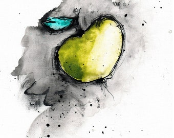 ink painting - A4 -  8x12in - food art - apple painting 2