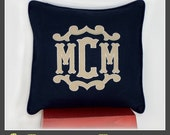 The Bordeaux Flourish Framed Monogrammed Pillow Cover- Choice of Sizes