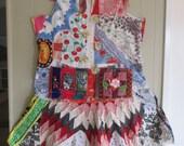 hold for js hermitage festival DRESS - Vintage Antique Linens -Wearable Folk Art  -Fabric Collage Patchwork Couture - myBonny