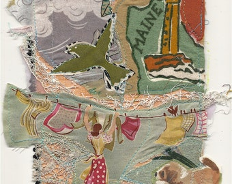 MAINE LAUNDRY by the sea -  Original Fabric Collage - Recycled Materials -  myBonny Folk Art