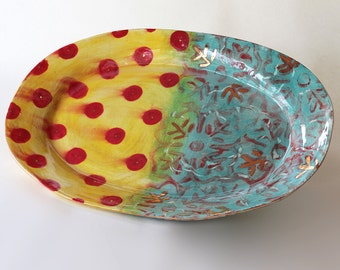 11 x 17 inch handmade ceramic serving platter in Tahitian Gypsy available in 14 days