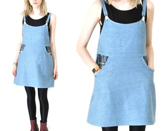 denim OVERALL dress 90s GRUNGE style light wash pale denim HANDMADE plaid jean mini dress small