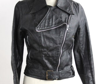 The PERFECT Black Leather Jacket  | Pointed Collar Black Leather Motorcycle Jacket | Asymmetrical Zipper Belted Leather Moto | XS-S