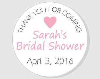 Thank You Bridal Shower Stickers - Thank You For Coming - 1.5 inch - 2 inch - 2.5 inch - 3 inch - favor - gift bag - envelope seal