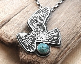 Red tail hawk necklace sterling silver and turquoise, hawk jewelry, gift for her, statement necklace, mens necklace, husband gift for him