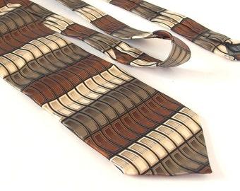 Vintage 1980's Statement Tie - Brown, Gray and Beige Silk Tie