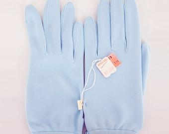 NOS Light Blue Nylon Simplex Shortie Gloves - Unused - One Size