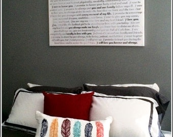 Canvas Word Art Faded Greys vows, lyrics Above Bed, custom personalized OOAK 24x36 gallery wrapped