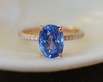 Conflower Blue Sapphire Ring. Sapphire engagement ring. Cushion Sapphire 3.61ct rose gold ring. Engagement ring by Eidelprecious