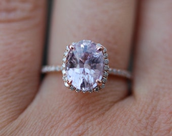 Dusty Lavender sapphire ring 2.87ct unheated sapphire halo diamond ring 14k rose gold engagement ring
