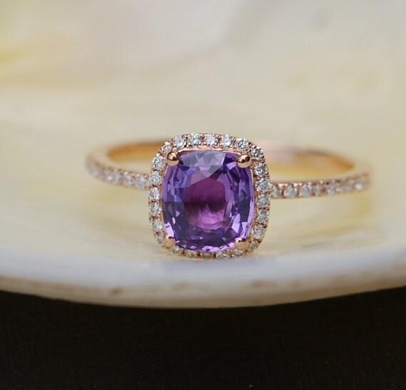 Purple Sapphire Rose Gold Ring 14k diamond ring Peach Lavender Cushion Sapphire 1.1ct