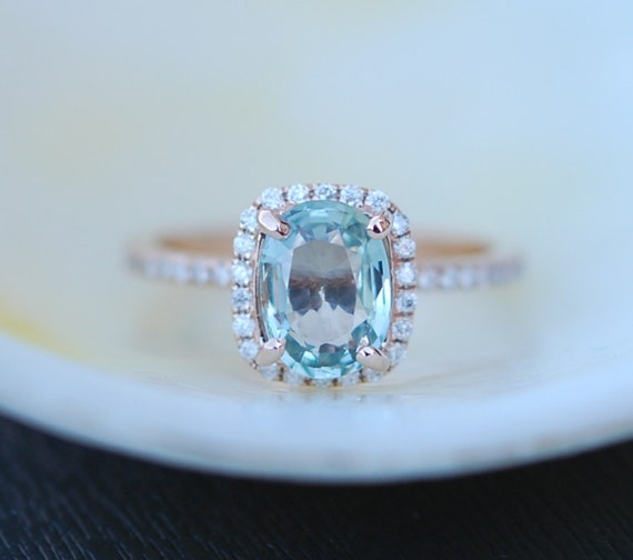 Rose Gold Engagement Ring Turquoise Aqua green Sapphire Ring 1.55ct cushion 14k rose gold diamond ring. Engagement rings by Eidelprecious.