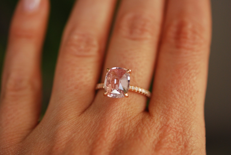 Blake Lively ring Blush Sapphire Engagement Ring oval cut 14k rose gold diamond  ring 2.82ct Blush Peach sapphire ring
