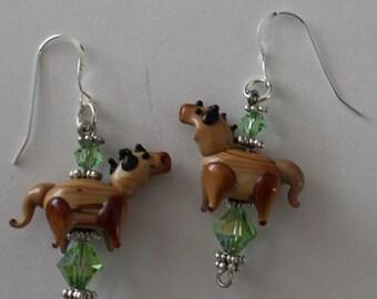 Sterling Silver 3D BUCKSKIN HORSE Earrings  -- Whoa Team, Equestrian