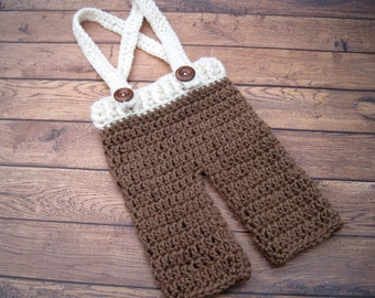 Baby Boy Pants, Boy Baby Clothes, Newborn Crochet Pants, Baby Pants, Baby Overalls, Newborn Boy Outfit, Infant Pants, Newborn Pants, Brown