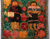 The couple. Vintage embroidered pillow case.