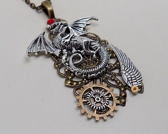 Steampunk jewelry. Steampunk dragon large pendant necklace .