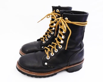90's lace up work boots // BLACK LEATHER logger boots // vintage grunge work boots // waffle stompers // women's size 6 or 6.5