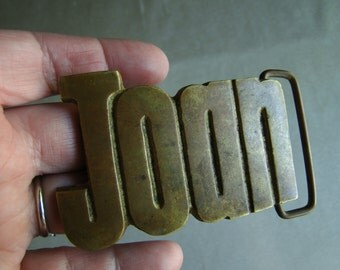 Vintage Joan Brass Belt Buckle