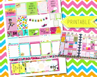 Color Run 5K Fitness Weekly Printable Stickers for Erin Condren Life Planner/Happy Planner INSTANT DOWNLOAD