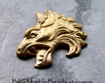 Vintage Brass Stamping-Vintage Finding-Lion Stamping-Roaring Lion-Rare Stamping-Ornate Stamping-1 Piece