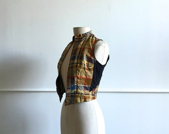 Antique Victorian Plaid Silk Vest.