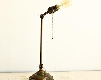 Vintage desk lamp - desk light - copper - adjustable arm - primitives