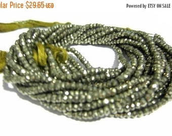 55% OFF SALE Pyrite Micro Faceted Rondelles 14 Inches strand 3.5mm approx