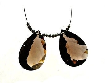 50% Off Valentine day 2Pcs AAA Smoky Quartz Faceted Pear Briolette Size 28x20mm approx Match Pair, Focal Pendant, Jewelry Supplies