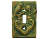 Heart & Bird Single Toggle Light Switch Cover in Green Ocher Glaze