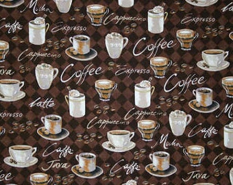 Brown Coffee Fabric By the Yard Fat Quarter Espresso Coffee Cup Fabric Mocha Cappuccino Latte Java Coffee Mug Cotton Quilting Fabric t4/3