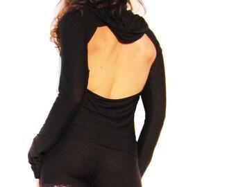 Open Back Black Hoodie Top - long long sleeves