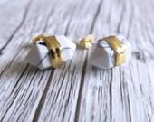 Howlite Terminated Point Crystal Earrings   Crystal Point Earrings   White Turquoise Earrings   White Stone Earrings   Gemstone Earrings