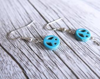 Peace Earrings Peace Sign Turquoise Howlite Earrings