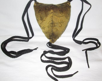 Renaissance Padded Mustard Colored with Vines Codpiece with Ties