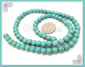 Aqua Turquoise Howlite Round Beads 6mm - 1 Strand Turquoise Howlite Beads 6mm