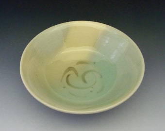 Bowl Ceramic Pottery Serving Green Celadon 356